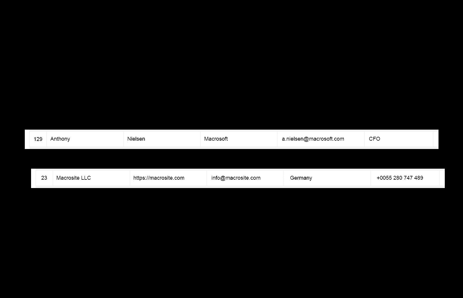 company info rows