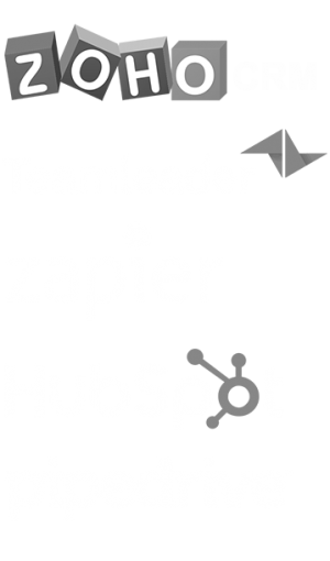 Sales.Rocks Integrations with Zoho Teamleader Zapier Hubspot Pipedrive logos