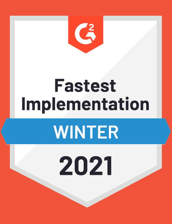 G2 badge fastest implementation business database