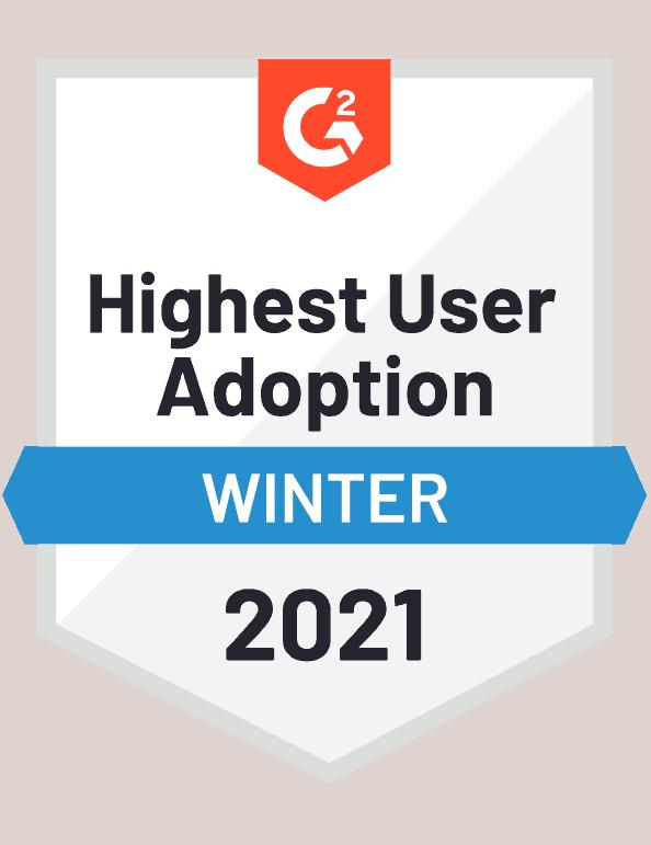 G2 badge highest user adoption business database