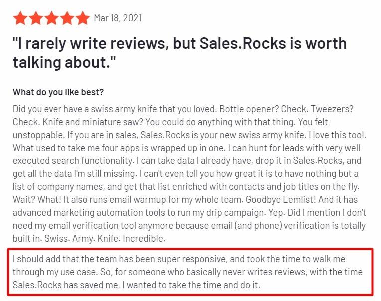 Sales.Rocks Success Stories g2 review