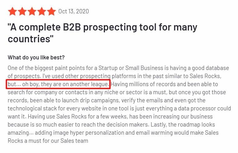 Sales.Rocks Success Stories g2 review1
